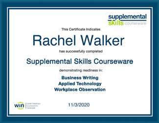 Supplemental Skills courseware certificate of completion